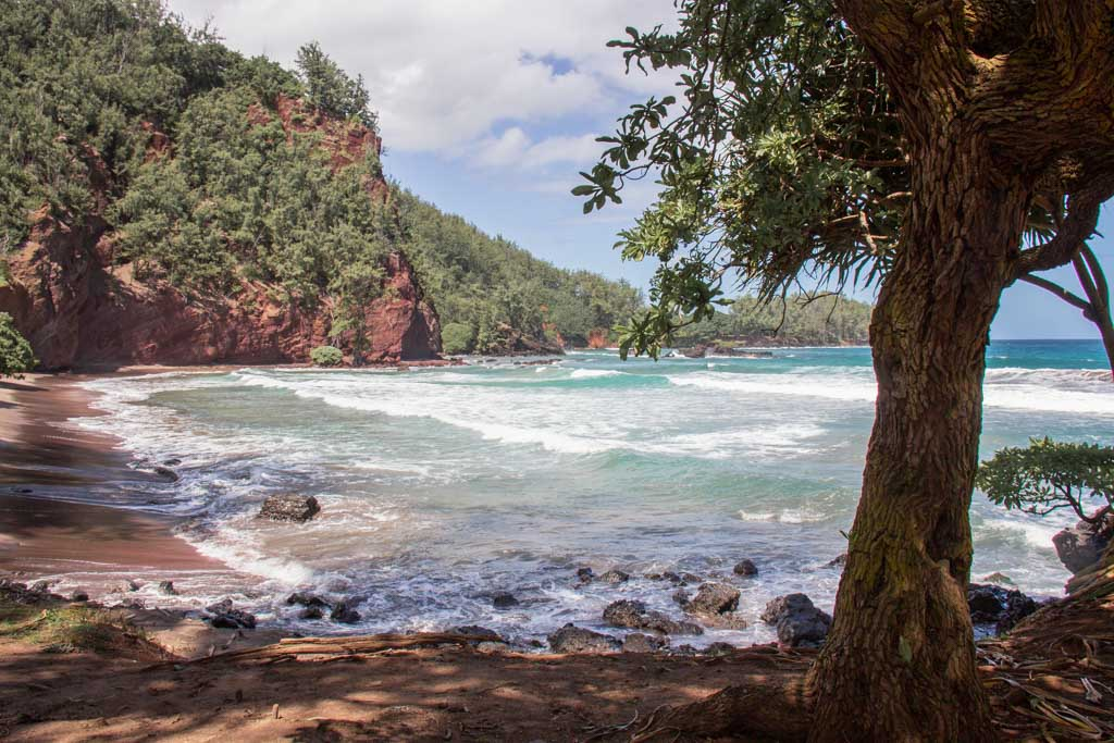 Kaihalulu, Kaihalulu Beach, red sand beach, red sand beach Hana, red sand beach Maui, road to Hana, Red Sand Beach, Kaihalulu Beach, Hana Highway, Maui, Hawaii