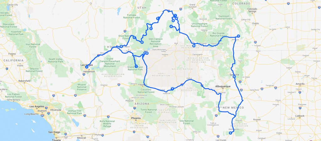 American Southwest Road Trip Itinerary Map