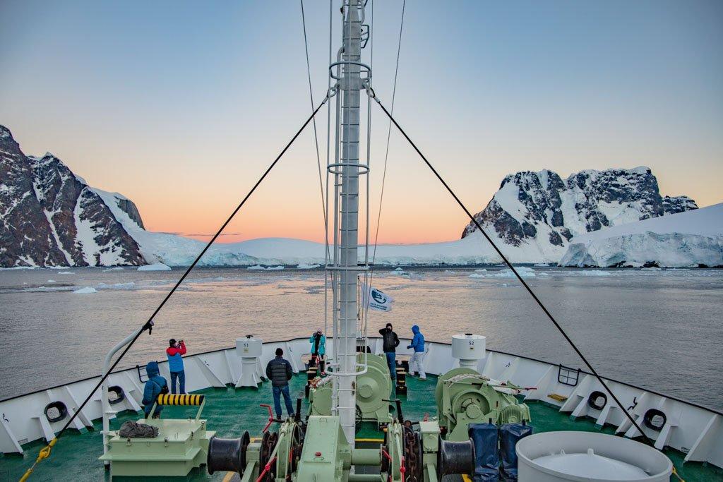 Deloncle Bay, Lemaire Channel, Antarctica, Lemaire Channel sunrise