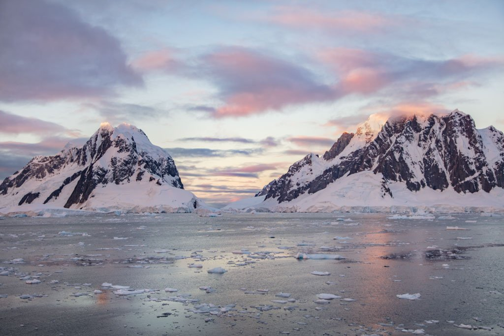 Lemaire Channel, Girard Bay, Antarctica, Lemaire Channel sunset