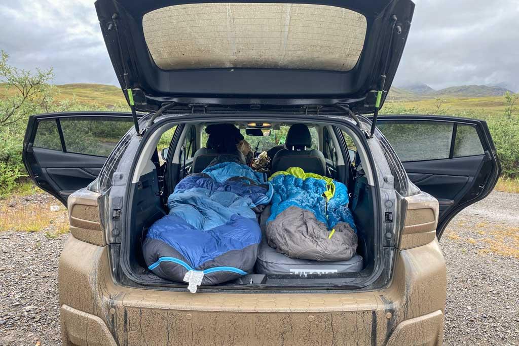 Car camping, Galbraith Lake, Alaska, Luno mattress